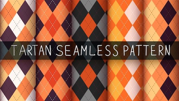 シームレスな格子縞のハロウィーンパターンセット