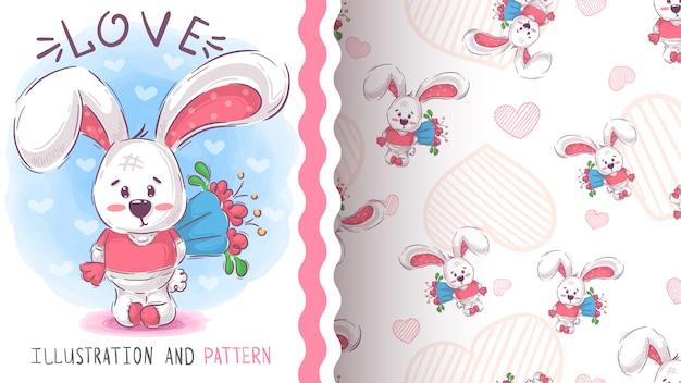 Милый кролик с цветком