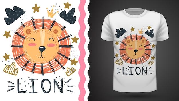 Милый лев - идея для печати футболки