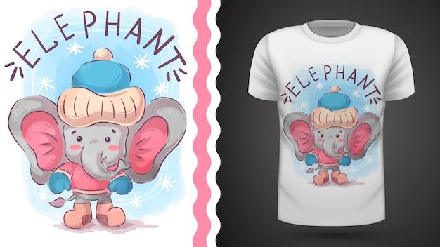 Зимний слон - идея для печати футболки