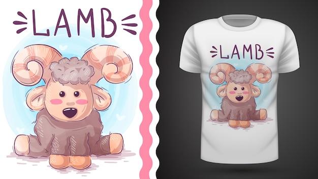 Симпатичный ягненок, идея для печати футболки