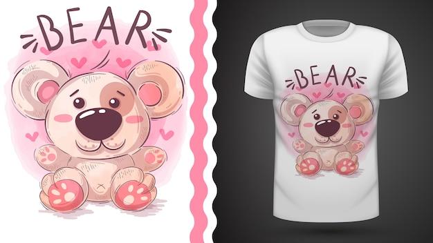 Иллюстрация плюшевого мишки для дизайна футболки