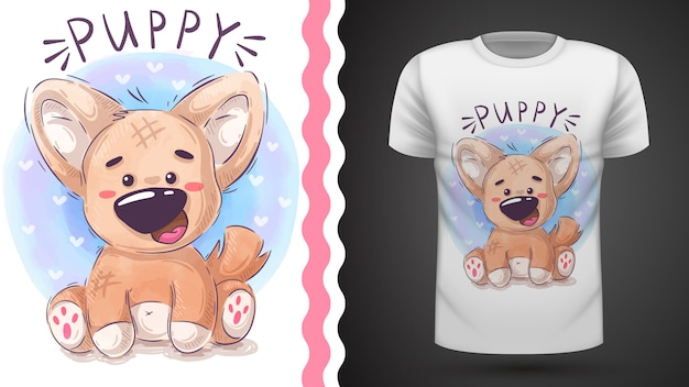 Иллюстрация щенка тедди для дизайна футболки