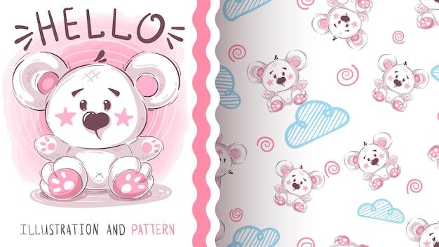 Симпатичный белый медведь - бесшовный фон