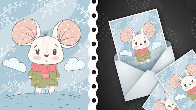 かわいいマウスイラスト-グリーティングカード