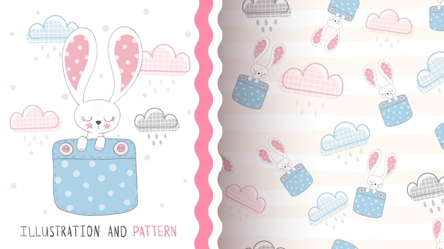 Милый кролик любви - бесшовный фон
