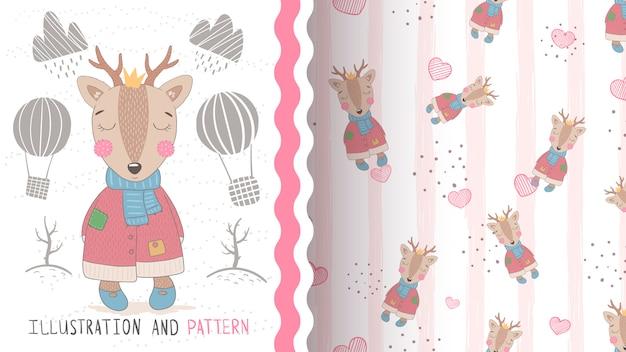 かわいい赤ちゃん鹿のシームレスなパターンとイラスト