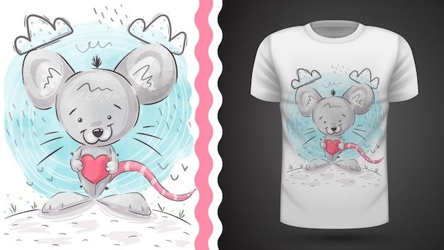 Сумасшедшая иллюстрация крысы для футболки с принтом
