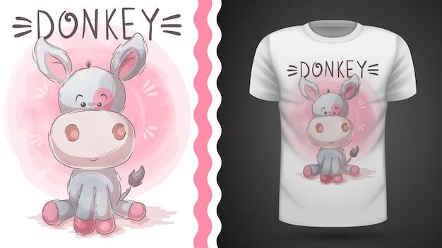 Милый осел - идея для печати футболки