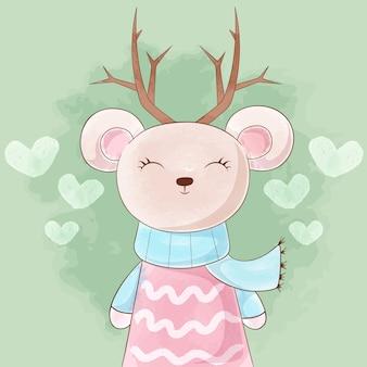 かわいいプリンセスクマ、鹿の水彩画。