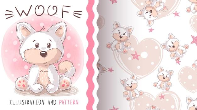 かわいい横糸犬のシームレスパターン