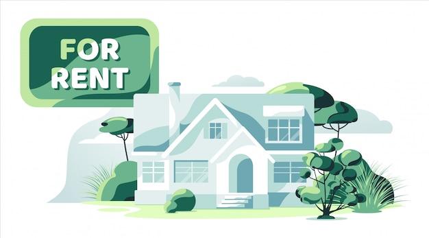 分離された庭の白い背景を持つ賃貸用不動産青い家
