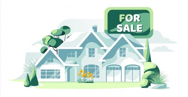 分離された庭の白い背景を持つ販売のための不動産の青い家