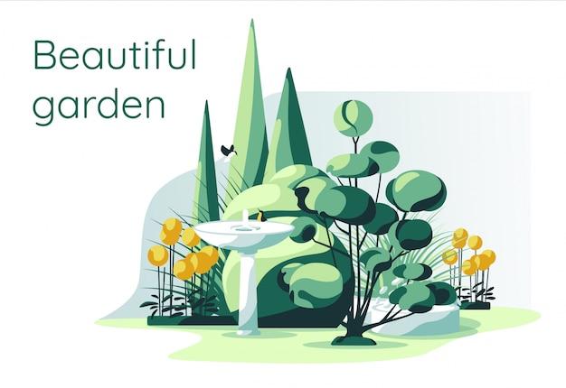 Жилые садовые растения с фонтаном на белом фоне