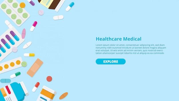 Лекарство или лекарство таблетки шаблон баннер