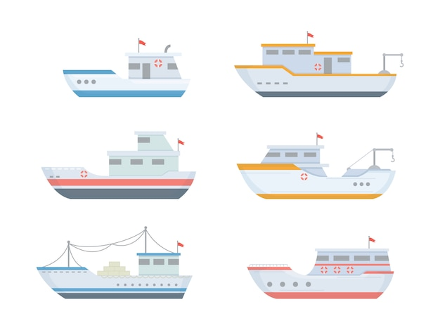 Наборы рыболовных лодок с различными размерами и формами в современном плоском стиле