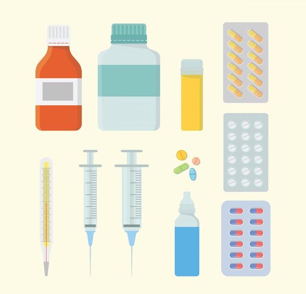 医療健康セットコレクションと注射器と丸薬カプセルとさまざまな形とモデル