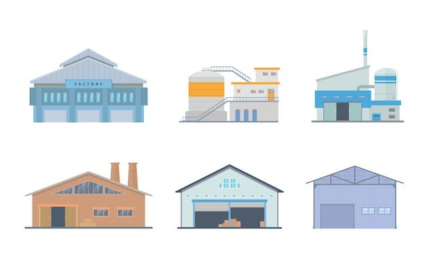 モダンなフラットスタイルのさまざまなタイプとモデルの工場建物セットコレクション