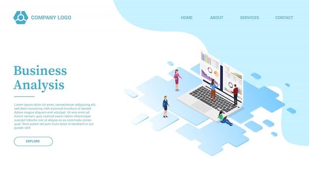 Бизнес-анализ с помощью шаблона веб-сайта с графиком и диаграммой или целевой страницы с изометрическим стилем