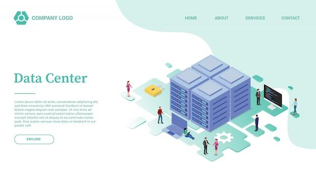 Шаблон сайта центра обработки данных или серверной службы или целевая домашняя страница в изометрическом стиле