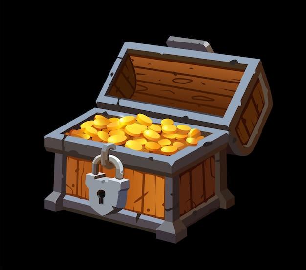 ゴールドコインの宝物を持つ海賊トランクチェスト