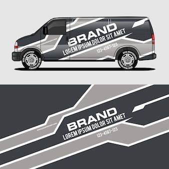 Серый фургон дизайн упаковки, наклейки и наклейки