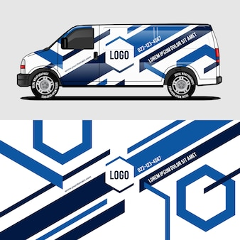 Синий фургон дизайн упаковки стикер и наклейка дизайн