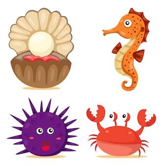 海の動物のイラストレーター