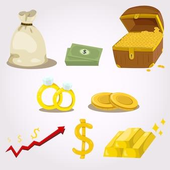 Векторный набор значков денег