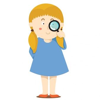 少女と虫眼鏡のイラストレーター