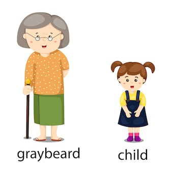 反対のグレイビールと子供のイラストレーター