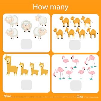動物の数を数えるイラストレーター