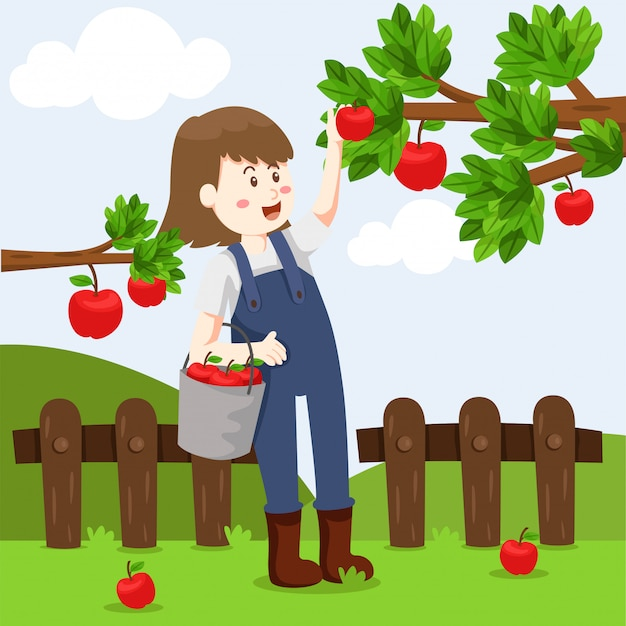 Иллюстратор яблочной фермы и девушка