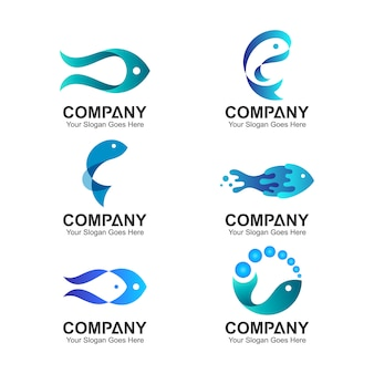 Набор дизайн логотипа рыбы