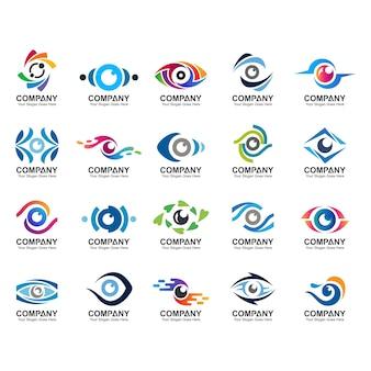 抽象的な目のロゴテンプレート、目のアイコン、目のロゴのセット