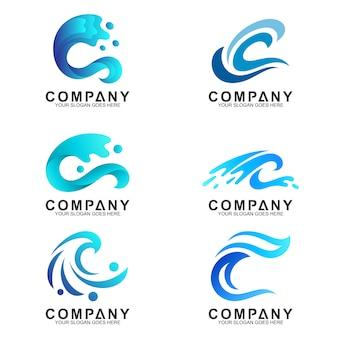 波のロゴのデザインテンプレートのセット