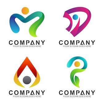 文字の形をした人々の組み合わせのロゴセット