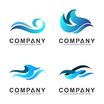 Волна логотип векторная коллекция