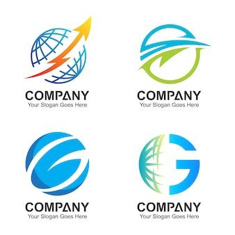 Шаблон эмблемы глобуса, глобальные значки, набор логотипов мира