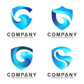 青い盾のロゴのテンプレート