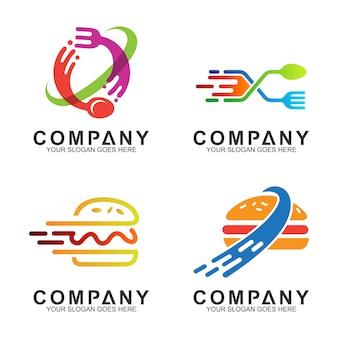 レストラン/食品事業のためのスプーンのフォークおよびハンバーガーのロゴデザイン