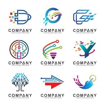 抽象的なテクノロジービジネスロゴデザインコレクション