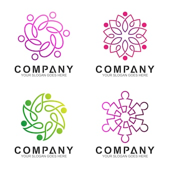 ラインアートスタイルのシンプルでエレガントな人々のつながり/コミュニティのロゴデザイン