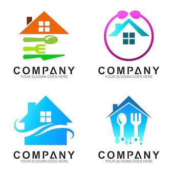 台所/レストラン/食事のためのスプーンのフォークのロゴの設計の家