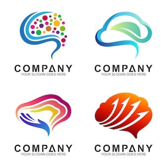 現代の脳のロゴデザインのインスピレーション