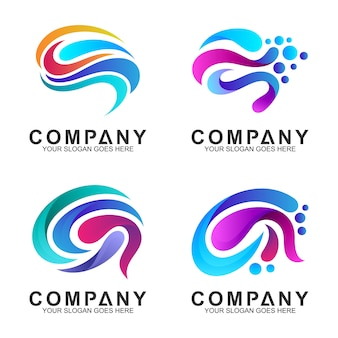 Набор мозга логотипа дизайн вдохновение