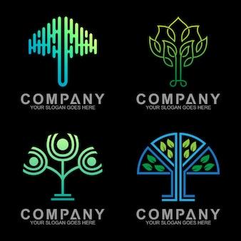 アウトラインスタイルのミニマリストの高級木のロゴデザイン