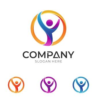 サークル形状のロゴデザインの人間または人のシルエット