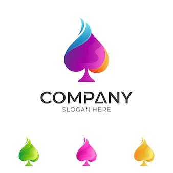 カラフルなスペードのロゴデザイン