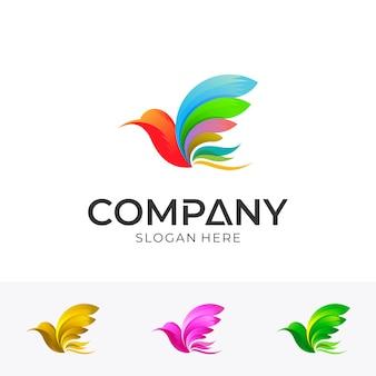 Дизайн логотипа птицы с красочным стилем